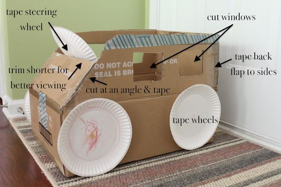 Great use for big boxes...the paper plate wheels are a bit of genius