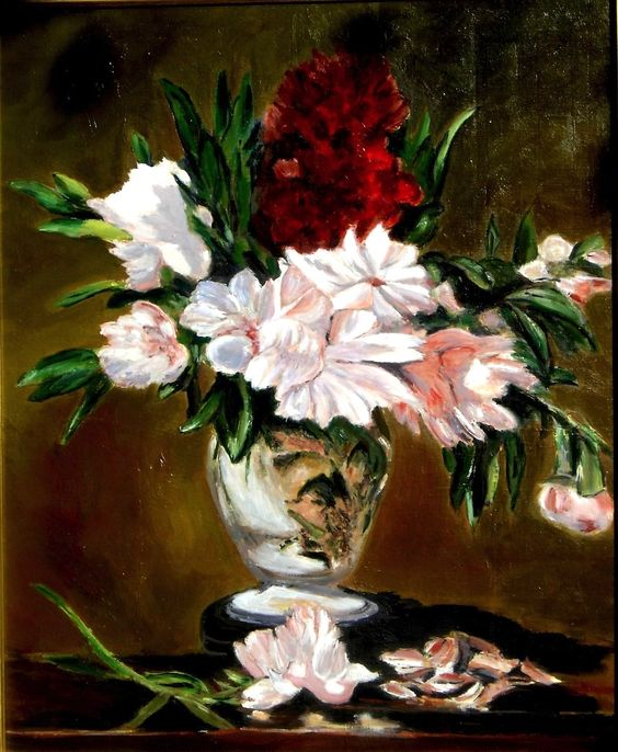 """Vase of Peonies on a Small Pedestal""  --  1864  --  Edouard Manet  --  French…:"