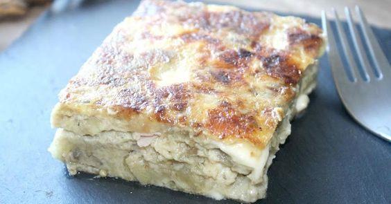 Tortilla de berenjenas, queso y jamón de York