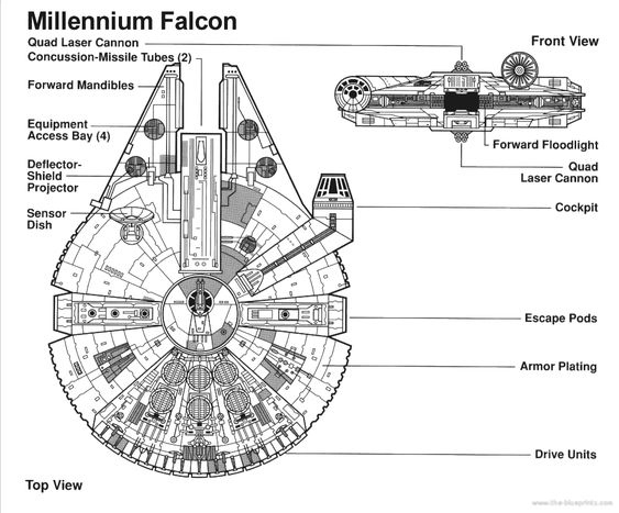 Star Wars Ship Simple Schematics M Falcon Star Wars Room