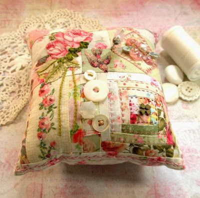 fiberluscious: Gallery  Patchwork and Crazy Quilted Pincushion: