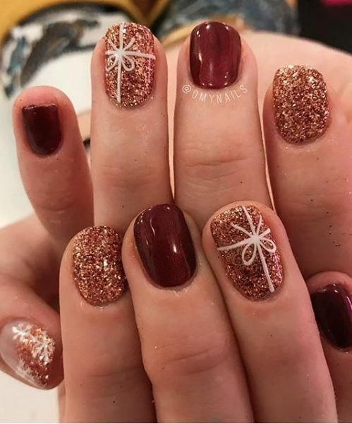 Blingy Bows Glimmery Copper Glitter Acrylicnaildesigns Christmas Nails Acrylic Holiday Nails Festival Nails