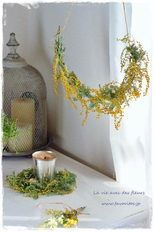 ミモザが芽吹く季節に…|ファヴォリートス~フレンチシックに心地よさを感じて mimosa wreath