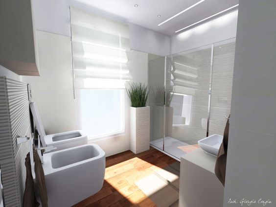 Interior-bathroom project by Giciarch on Etsy - I like the minimilist look but warm wooden floor.