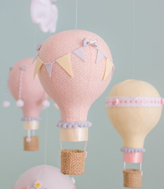 Blush Pink, Yellow and Grey hot air balloon baby mobile to decorate your nursery with. Each balloon is hand made from various coordinating