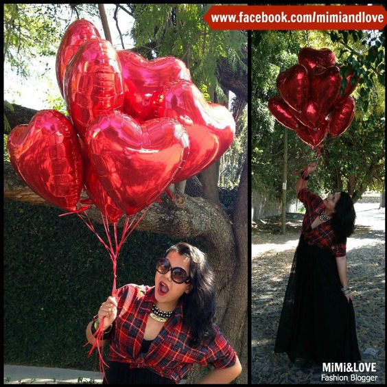 balloons, hearted balloons, globos de corazon, red, plaid, cuadros, fashion blogger, mexican, mexican fashion blogger, long skirt, style, san valentin, valentines day, corazones