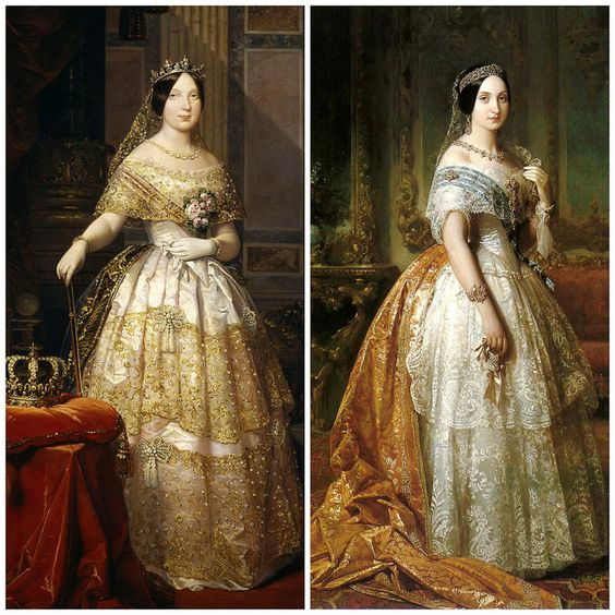 Sisters of Spain: Queen Isabella II of Spain (October 10, 1830 – April 10, 1904) and her sister Infanta Luisa Fernanda, Duchess of Montpensier (30 January 1832 – 2 February 1897) by Frederico de Madrazo, circa mid-19th century