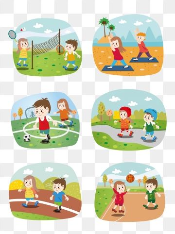 Cartoon Cute Children Sport Outdoor Fitness Scene Elements Cartoon Lovely Girl Png And Vector With Transparent Background For Free Download