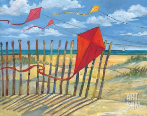 Beach Kites Red Print by Paul Brent at Art.com