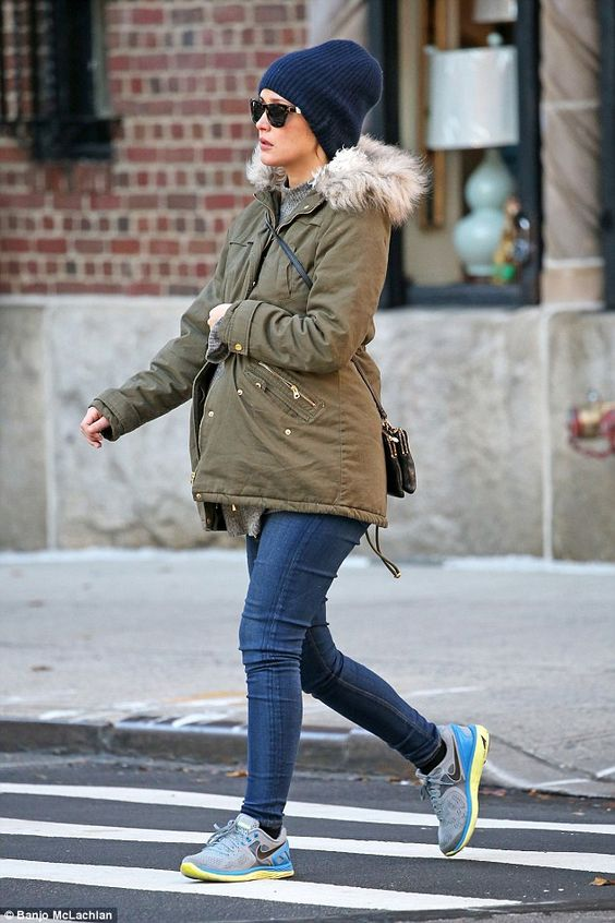 Bumping along nicely: The pregnant actress kept a low profile as she made her way around ...