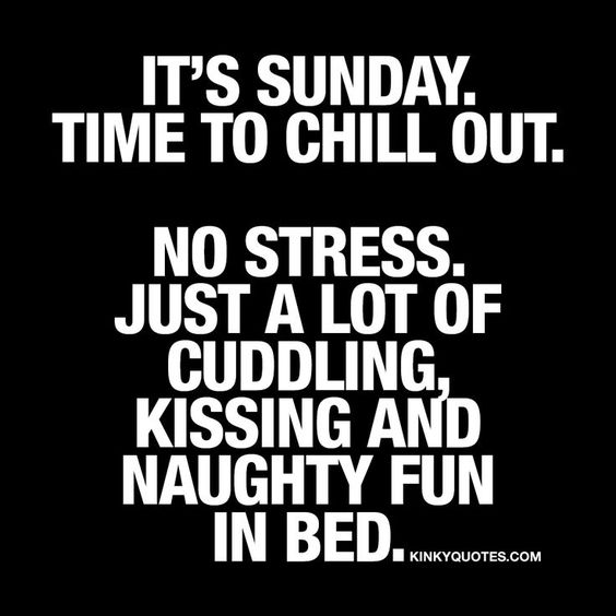 It's Sunday. Time to chill out. No stress. Just a lot of cudding, kissing and naughty fun in bed. ❤️ #love #sundays