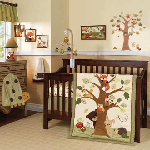 Echo Brown Beige Green Woodland Forest Animals 9 Piece Baby Crib