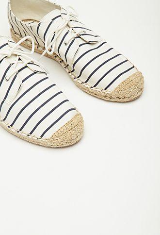 Striped Lace,Up Espadrilles , $15