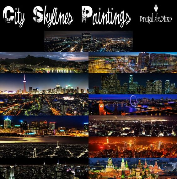 City Skylines paintings at Brutal de Sims4 via Sims 4 Updates