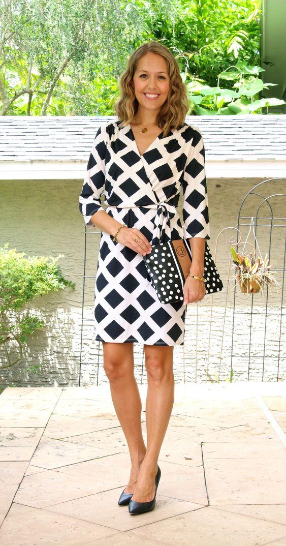 Mud Pie black and white wrap dress