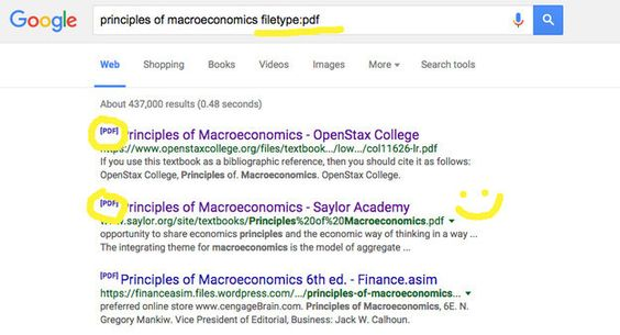 """Forgot your textbook at home? Google the name of the textbook + """"filetype:pdf"""" and you might find it online.   19 Internet Hacks Every Student Should Know"""
