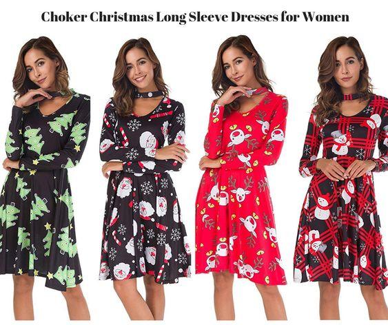 Choker Christmas Long Sleeve Dresses for Women