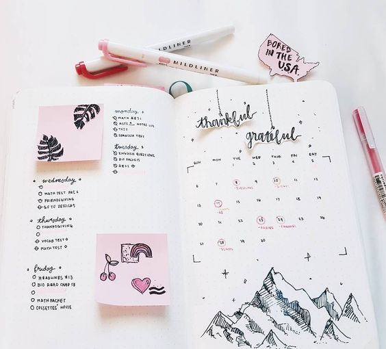 The evolution of my bullet journal in seven pictures. I just filmed a new video, it's a bullet journal flip through detailing all my tips, set-ups, and decorations. if you want to see it click the...:
