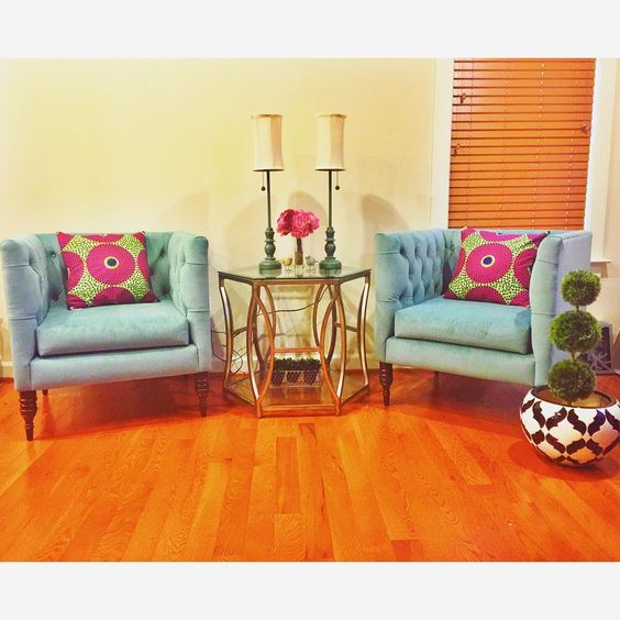 We love getting pictures of how customers style our African print fabric pillows!