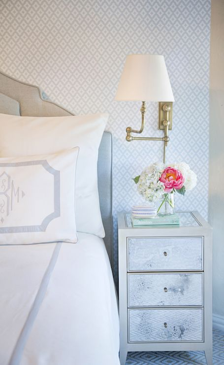 Soft blues in an elegant bedroom with classic decor. Beautiful Classically Refined Rooms on Hello Lovely Studio.