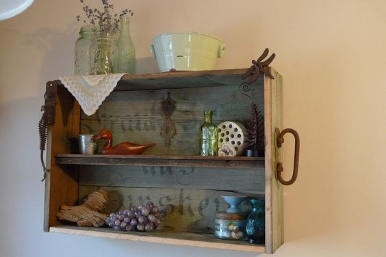 repurposed trunk into a shelving unit