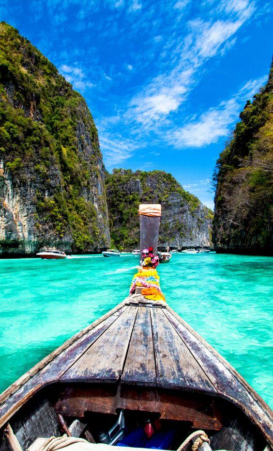 Barco de madera tradicional, Koh Phi Phi Island, Tailandia, Asia