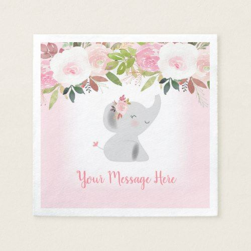 Pink Floral Elephant Baby Shower Paper Napkins Zazzle Com Baby Shower Paper Paper Flower Patterns Personalized Paper Napkins