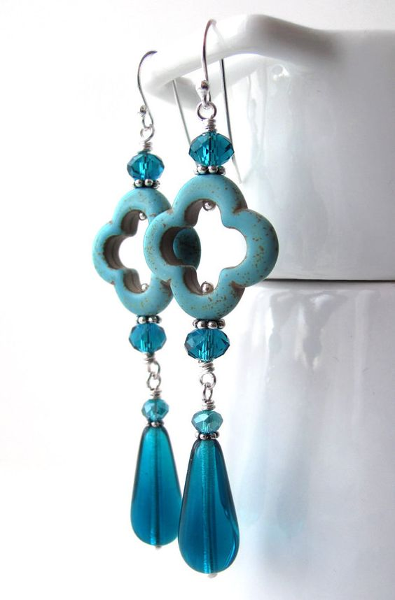 Long Aqua Turquoise Earrings with Teal Quatrefoil and by ShySiren