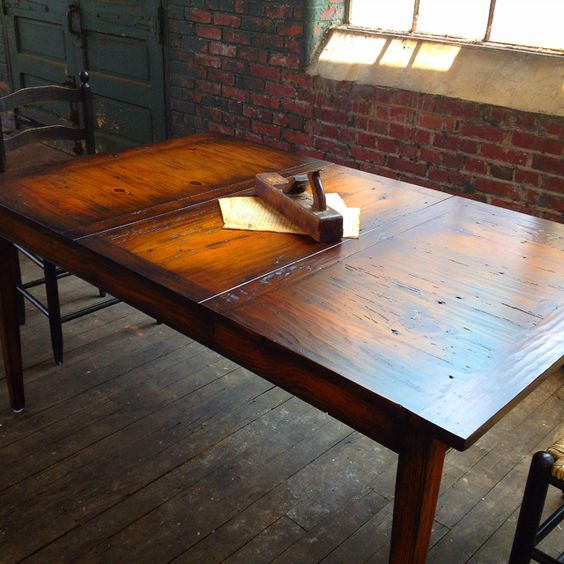 Reclaimed Wood Handcrafted Custom Dining Table By Mobili Farm Tables  40u0027u0027x48 Closed And With Leaf Extends To 66u0027u0027 | Farm Tables | Pinterest | Farm  Tables, ...