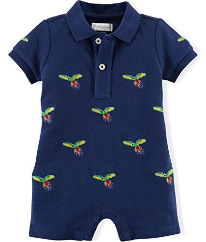 Ralph Lauren Polo Baby Boys Shiffli Embroidered Shortall Romper 6 Months ** To view further for this item, visit the image link.