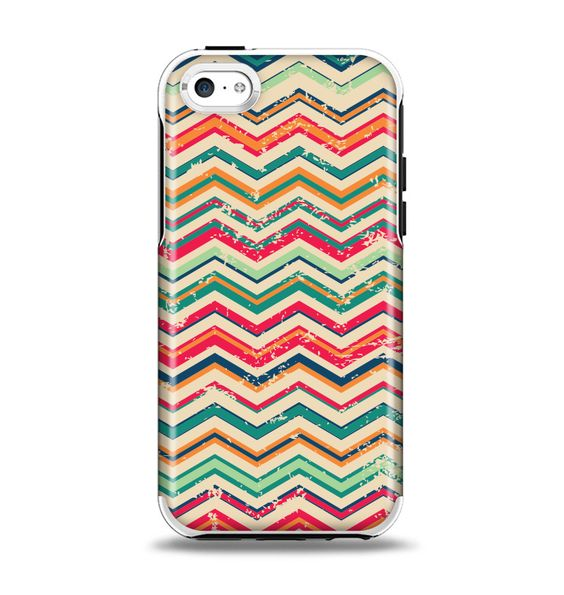 The Tan and Colored Chevron Pattern V55 Apple iPhone 5c Otterbox Symmetry Case Skin Set