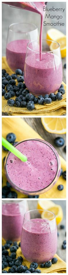 Try this Blueberry Mango Smoothie Recipe - it's the best way to get natural energy! | NatashasKitchen.com