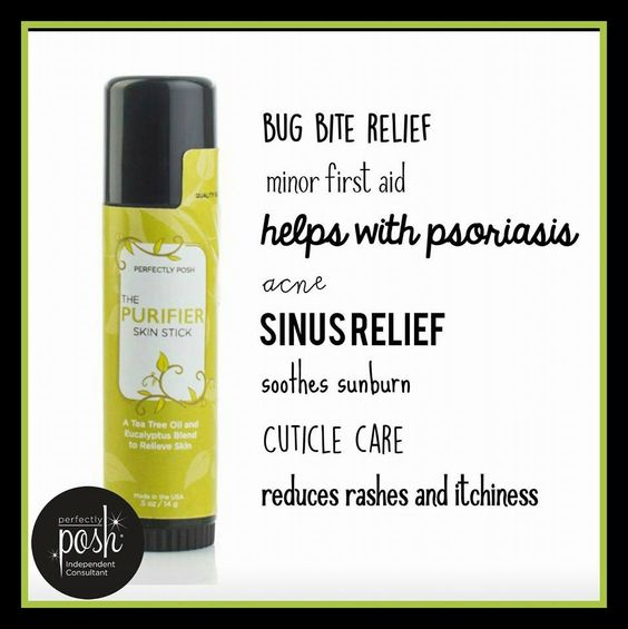 Purifier Skin stick! By Perfectly Posh. Good for bug bites, rashes, sinuses,  psoriasis.  www.heathermills.po.sh