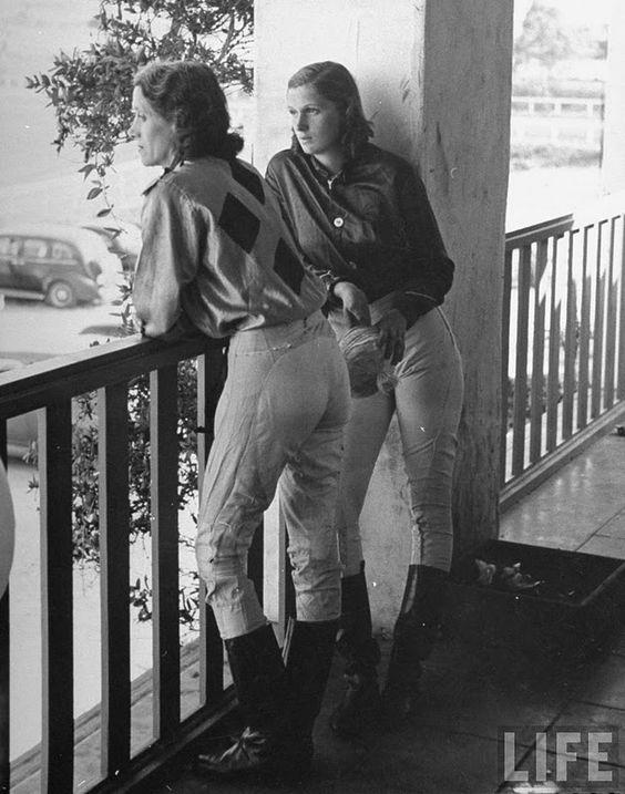 women jockeys  (Agua Caliente Track in Tijuana, Mexico by Peter Stackpole, 1940.)