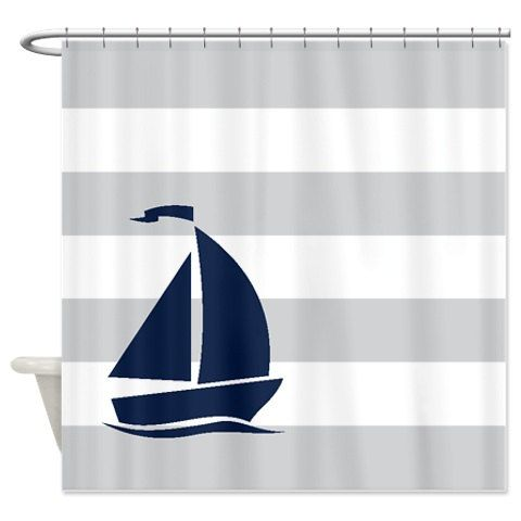 Nautical Shower Curtain Light Grey And White Stripes Navy Blue Sailboat Custo
