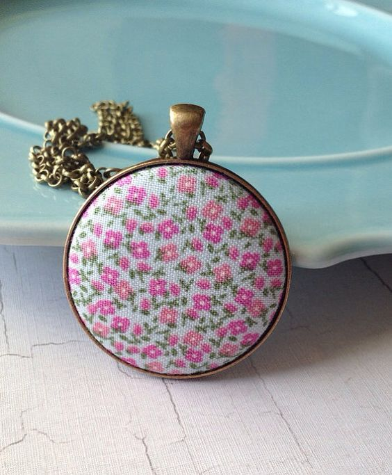 Soft Blue Fabric Pendant Mini Flower Pendant Pink Flower by MinMac, $15.00