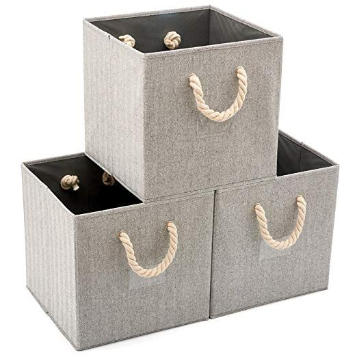 Ezoware Set Of 3 Foldable Fabric Storage Cube Bins With Cotton Rope Handle Collapsible Resistant Baske Fabric Storage Cubes Cube Storage Fabric Storage Bins