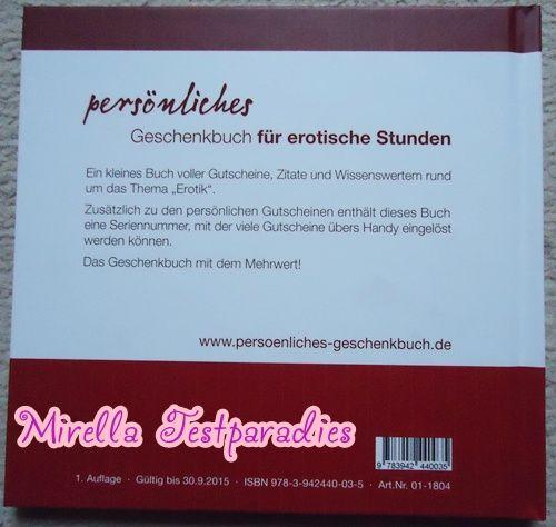 """The backside of the book """"persönliches Geschenkbuch für erotische Stunden""""."""
