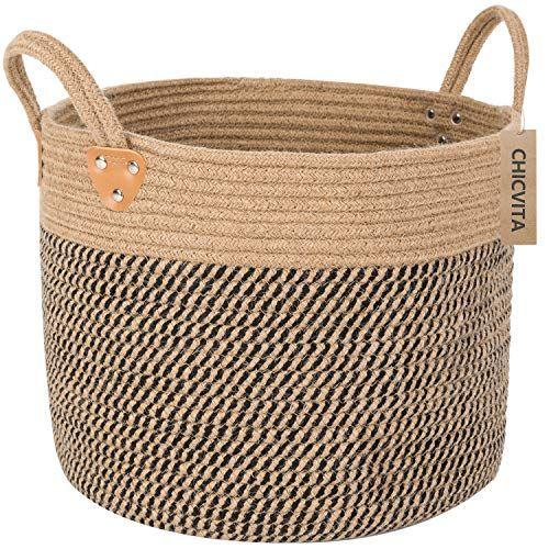 Chicvita Large Jute Basket Woven Storage Basket With Handles Natural Jute Laundry Basket To Woven Baskets Storage Jute Basket Blanket Basket