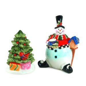 Fitz and Floyd Sullivan Salt and Pepper by Fitz and Floyd. $25.00. Earthenware. Hand painted. Hand wash with mild detergent. Sullivan the Snowman and his evergreen tree take the form of salt and pepper shakers in this cheerful pair. A charming table decoration for the season, even without seasonings inside!