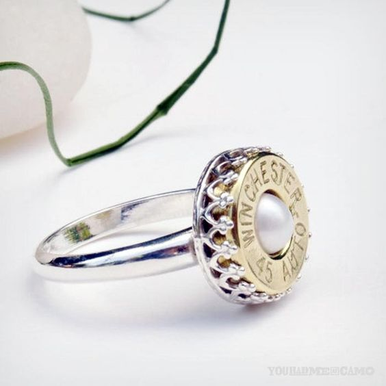 Bullet Ring with inset Pearl by Lamplighter Jewelry