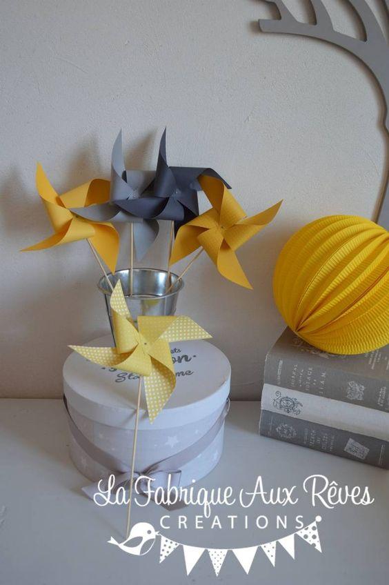 Dispo 10 moulins vent jaune et gris d coration chambre b b gar on jaune et gris b b et for Decoration chambre bebe jaune et gris