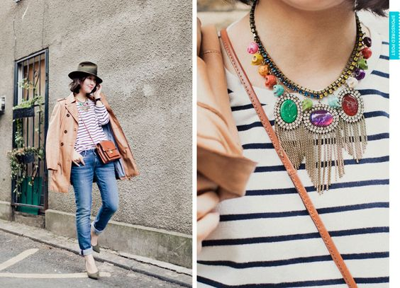 stripe | easy spring look | bold necklace | pops of colour | spring fashion | park and cube