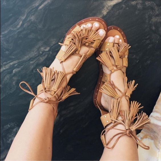 Zara Tasseled Roman Sandals Worn once. No tags. Amazing condition. No trades! Use offer button Zara Shoes Sandals: