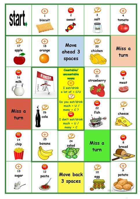 Countable Uncountable Nouns Board Game Board Games Nouns Activities Uncountable Nouns