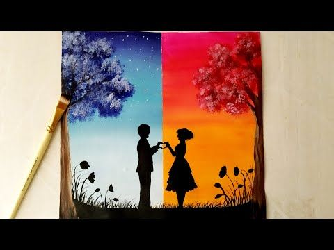Easy Acrylic Painting For Beginners A Romantic Couple On Day Night Scenery Painting For Beg Love Canvas Painting Simple Acrylic Paintings Romantic Paintings