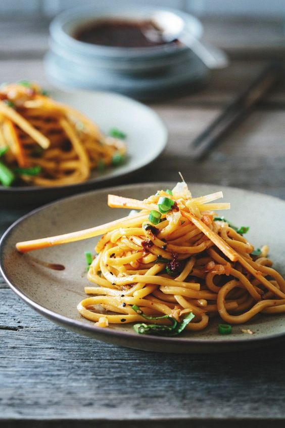 Spicy 10-minute Kimchi Noodle Salad: