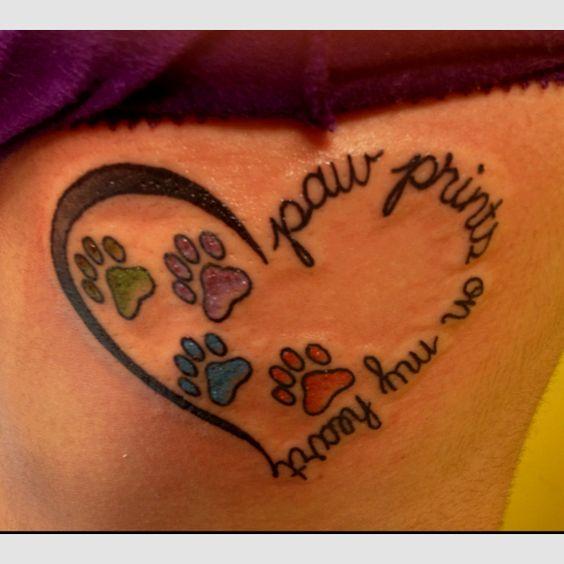 Dog Paw Print Tattoo Writing: Pets, My Heart And Paw Print Tattoos On Pinterest