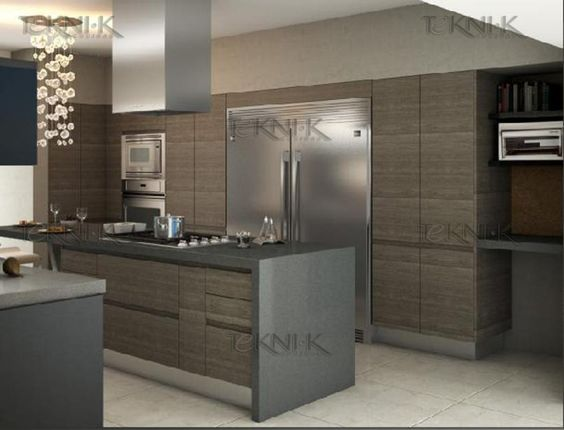 Cocina moderna con puerta panel laminado de importaci n for Puertas para cocina modernas