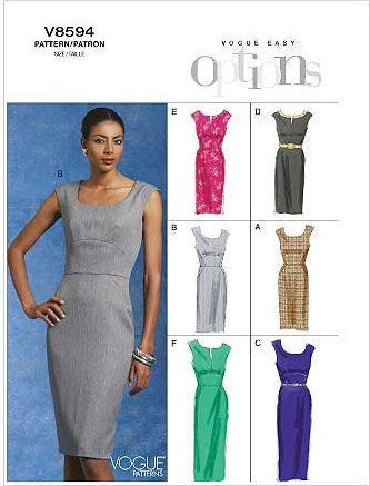 Vogue Pattern V8594 - Vogue Easy Options - Wardrobe Essentials Misses' Dress